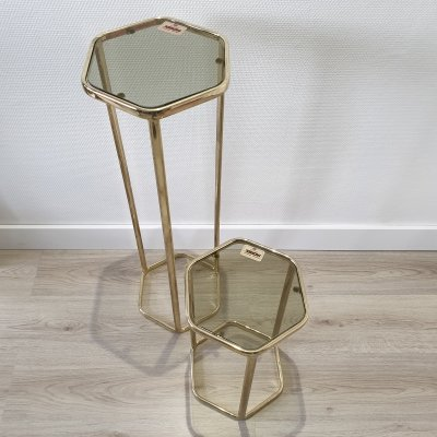 Gold-plated & smoked glass hexagonal plant stand or side tables by Morex