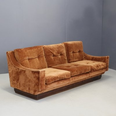 Original orange velvet Sofa by Luciano Frigerio, 1970s