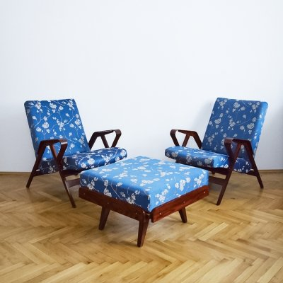 Pair of Armchairs & stool by František Jirák for Tatra, 1950s