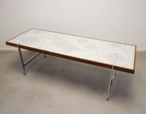 Vintage rare rectangular coffee table with White glass mosaic