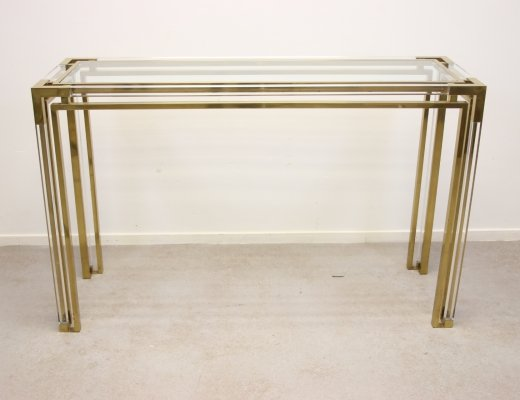 Golden plexiglass or lucite side table design by Charles Hollis Jones
