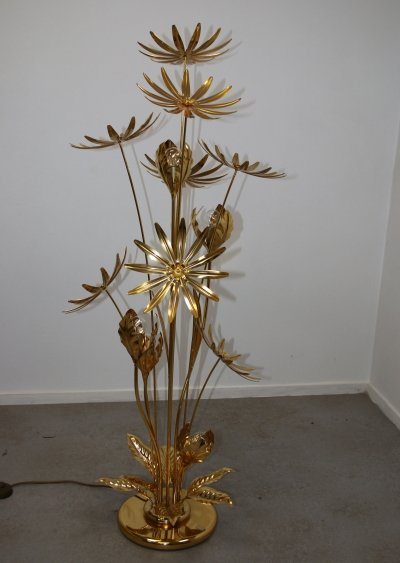24 kt gold-plated Flower Floor lamp by Hans Kögl, 1970s