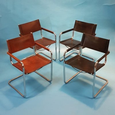 Set of 4 model MG5 chairs by Mart Stam for Jox Interni, 1970s