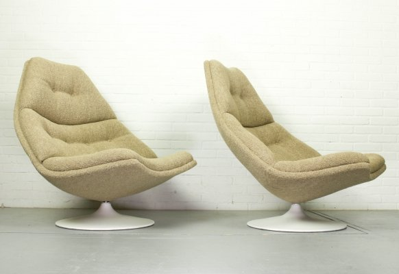 Pair of F511 lounge chairs in Boucle fabric by Geoffrey Harcourt for Artifort, 1960s