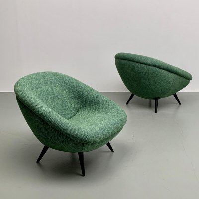 Set of 2 rare ball shaped easy chairs, 1950s