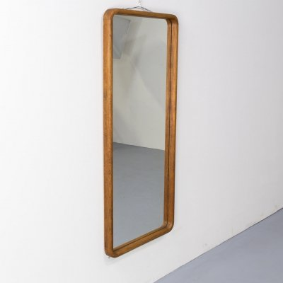 70s mirror with oak wooden frame