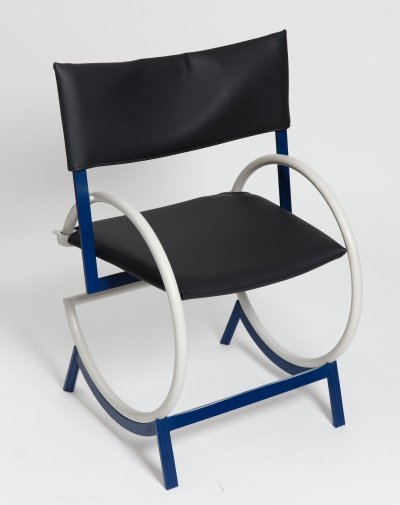 Postmodern Metal & Leather Chair