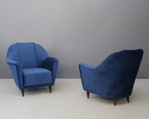 Pair of MidCentury Armchairs in velvet by Ico Parisi for Ariberto Colombo, 1950