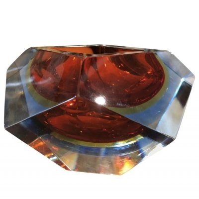 Seguso Sommerso Faceted Murano Glass Ashtray, 1970s