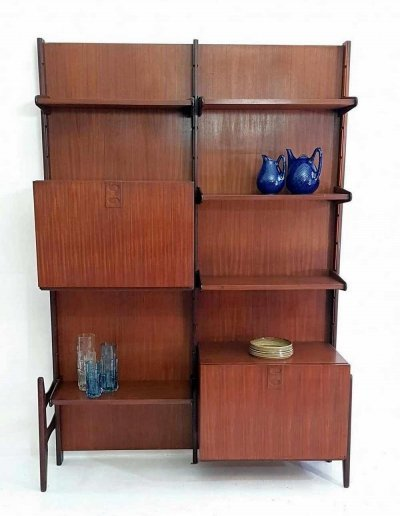 Midcentury Wall Unit Bookshelf in Teak by Fratelli Proserpio, Italy 1960s