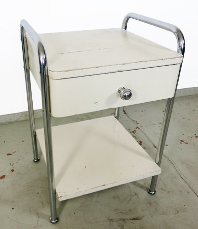 Mora Bedside table with tubular steel frame & drawer, 1930s