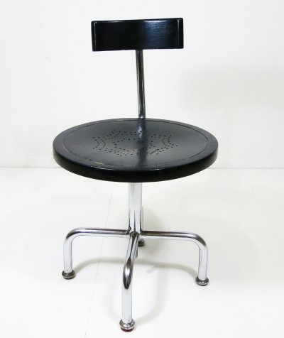 Height adjustable Architects / work chair with tubular steel frame, 1930s