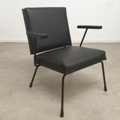 Black skai Gispen 415 / 1401 chair by Wim Rietveld, 1960s