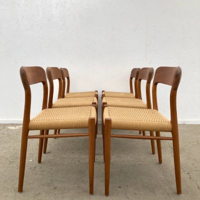 Set of 6 Niels O. Møller 'model 75' papercord chairs, 1960s