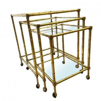 1960's set of Three Brass & Glass Italian Nesting Tables