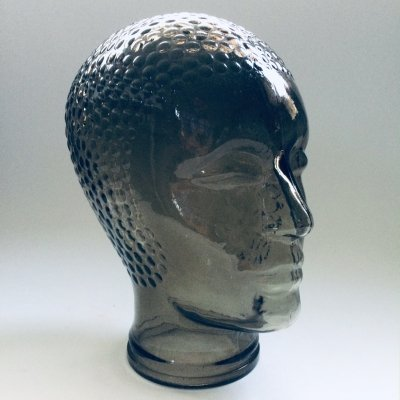 Smoke Glass Mannequin Head by Pukeberg Sweden, 1970's
