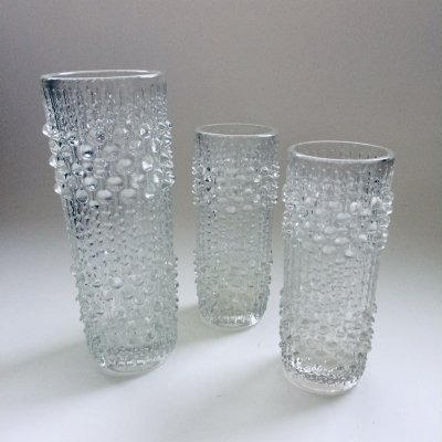 Set of 3 Glass Dew Water Drops Kastehelmi Vases by Oiva Toikka for Iittala