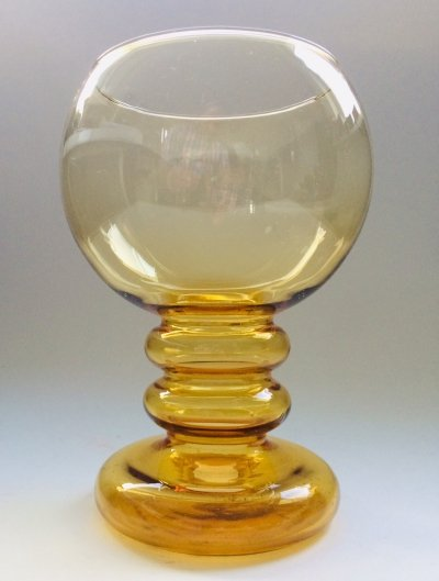 Finnish Design Amber Glass Vase Bowl by Erkkitapio Siiroinen, 1970's