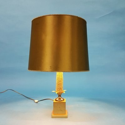 Hollywood regency corn lamp by Maison Dauphin, France 1970s