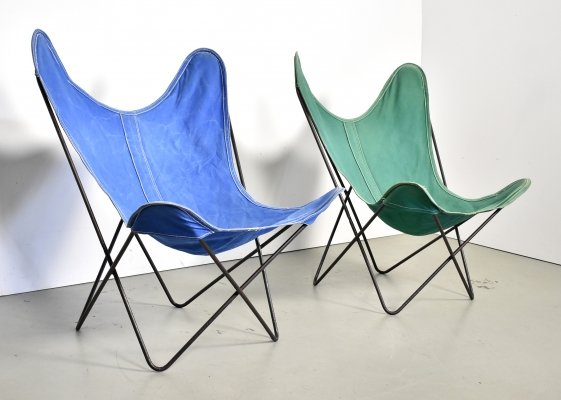 Pair of Butterfly 'AA' chairs in canvas by Airborne, 1960s