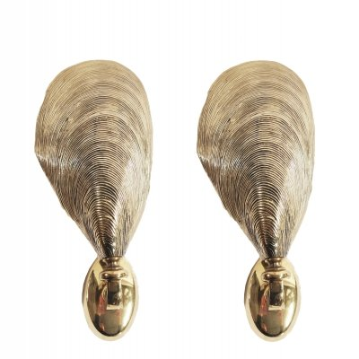 Pair of Solid bronze Maison Jansen mussel wall sconces, 1970s