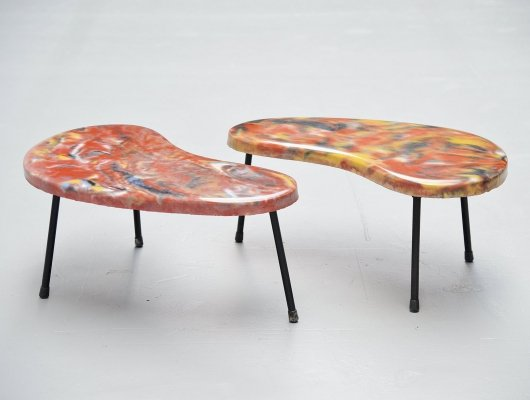 Pair of kidney shaped tables, France 1960