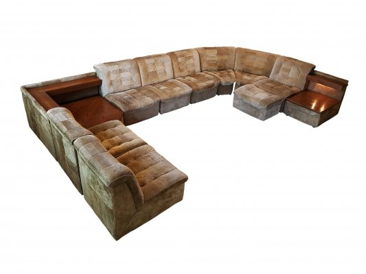 Vintage leather modular sofa 11 elements by Lemke,1970s