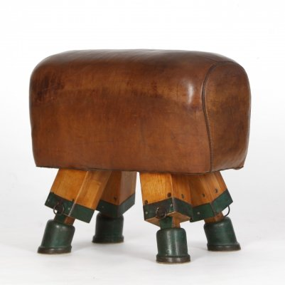 Vintage Leather Gym Horse Bench, 1930s