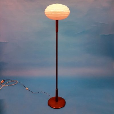 Wood floor lamp with origami shade by Aloys Gangkofner