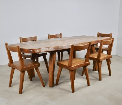 Elm dining table & six elm chairs, 1960s