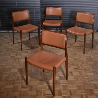 Set of 4 Niels Moller Model 80 Rosewood Chairs With Original Leather