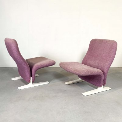 Pair of Lilac Concorde Easy Chairs by Pierre Paulin for Artifort, 1960s