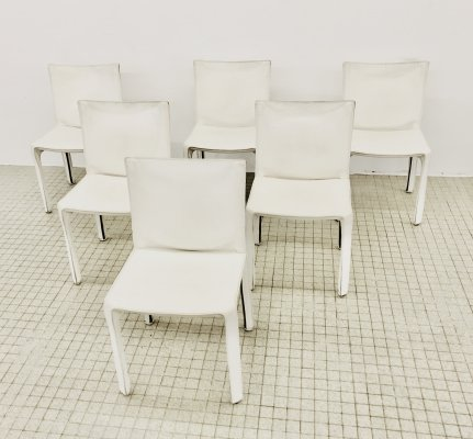 Set of 6 Cassina CAB 412 white leather dining chairs by Mario Bellini