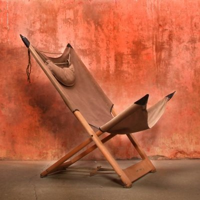 Very Rare 1960s Safari Folding Chair by Hyllinge Denmark