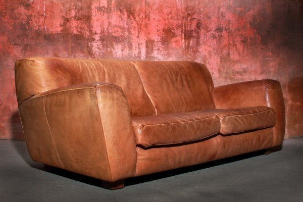 Vintage Cognac Bull Leather Two Seat sofa by Teun van Zanten for Molinari, 1970s