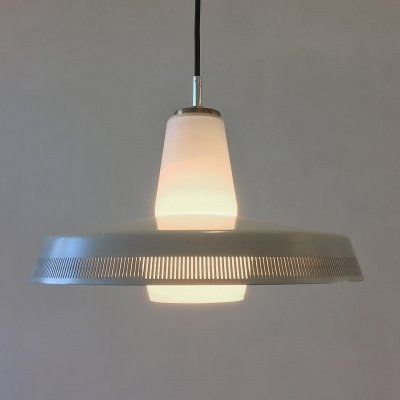 Danish hanging lamp in opaline glass & metal, 1960s