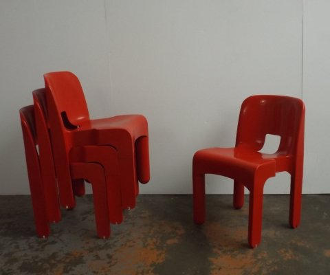 Set of 4 Universal dining chairs by Joe Colombo for Kartell, 1960s