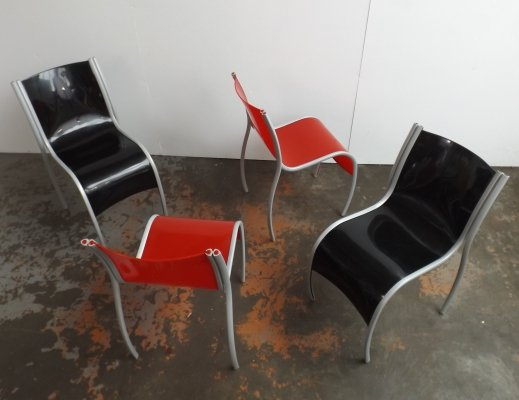 Set of 4 'Fantastic, Plastic, Elastic' chairs by Ron Arad, 1990s