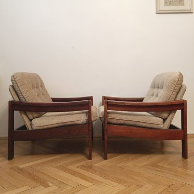 Pair of Large Nude/Brown Vintage Armchairs, 1960s