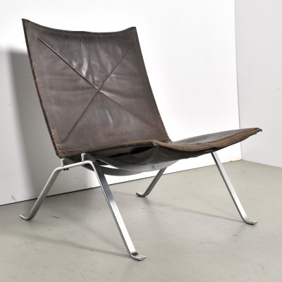 Early Poul Kjaerholm PK22 in original leather for E Kold Christensen, 1960s