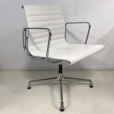 White full leather EA108 office chair by Charles & Ray Eames for Vitra, 1990s
