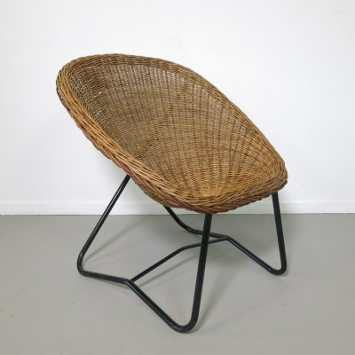 Rare rattan chair by Dirk van Sliedregt for Gebroeders Jonkers, 1950's