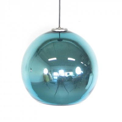 Rare blue mirror glass pendant lamp by Hiemstra Evolux, 1960's