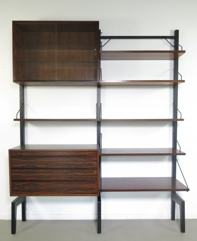 Poul Cadovius Rosewood wall unit with black metal stands