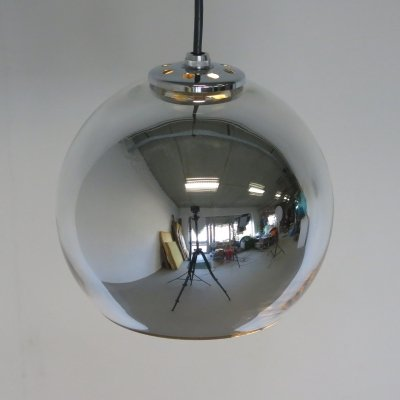 Rare mirror glass pendant lamp by Hiemstra Evolux, 1960s