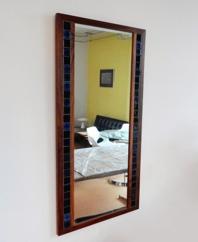 Vintage rosewood mirror with blue tiles, Denmark