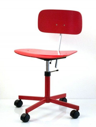 Red adjustable desk chair by Jorgen Rasmussen, 1960s