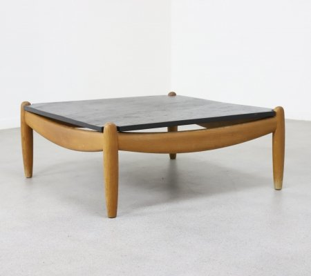 Coffee table in patinated oak & slate by Carl Straub, 1970s