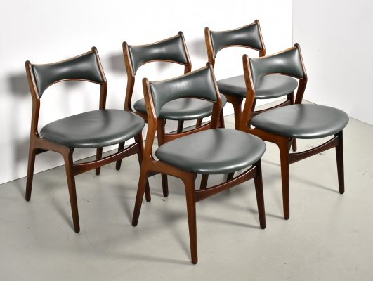 Set of 5 Erich Buch dining chairs in green leather for C. Christensen, 1960s