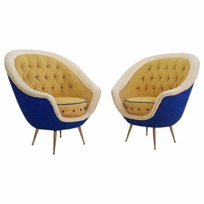 Midcentury Pair of Armchairs with Brass Spider Legs by ISA Bergamo, Italy 1959